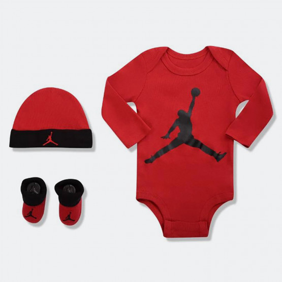 Jordan L/S Jumpman Hat/Bodysuit/Bootie Set 3Pc