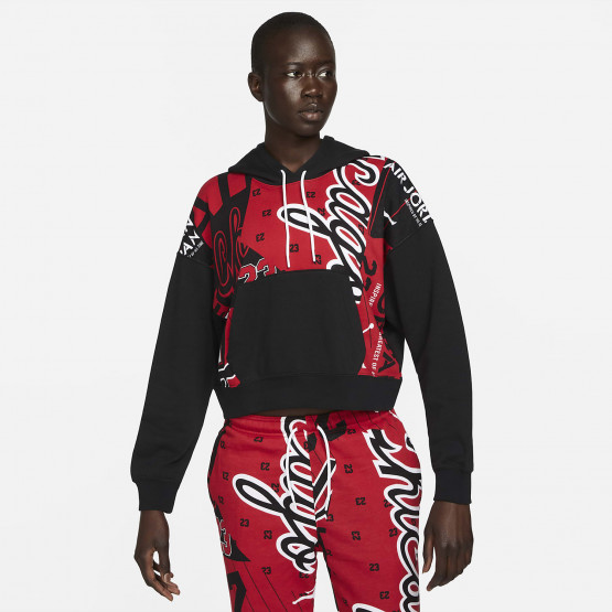 Jordan Fleece All-Over Print Γυναικεία Μπλούζα με Κουκούλα